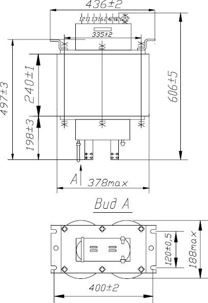 Схема и габаритные размеры трансформатора сварочного ТВК-75