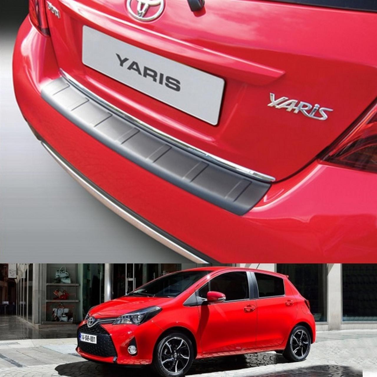 Toyota Yaris 2014+ ribbed пластиковая накладка заднего бампера