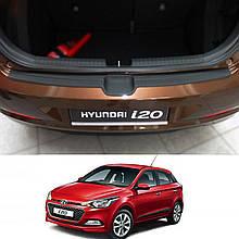 Пластикова захисна накладка на задній бампер для Hyundai i20 Mk2 до-рестайлінг 2014-2018