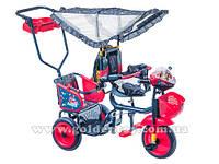 """Велосипед для двойни """"Озорной ветерок"""" 3-х колесный 2-местный  для двойняшек, 4цвета"""