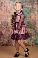 Красивое платье на девочку, 104 - 128. Нарядное праздничное детское платье с фатином.
