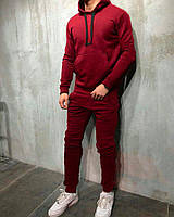 Спортивный костюм мужской зимний теплый бордовый качественный без логотипа