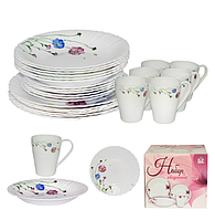 """Набор столовой посуды """"Весенние цветы"""" (24 предмета, стеклокерамика), фото 1"""