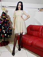 Платье бежевое гепюр