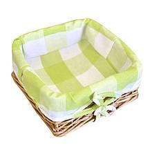 Хлебница плетеная Кантри зеленая клетка с чехлом