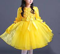 Детское нарядное платье пышное желтое с рукавом и подьюбником на 5-6 лет
