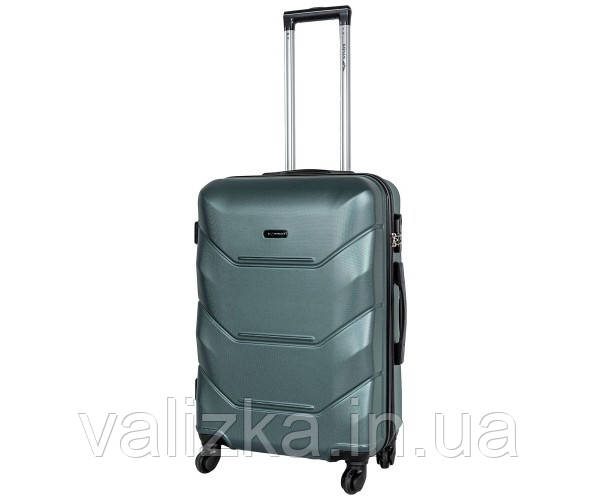 Средний пластиковый чемодан из поликарбоната Fly на 4-х колесах темно-зеленый