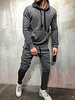 Спортивный костюм мужской зимний теплый серый качественный без логотипа