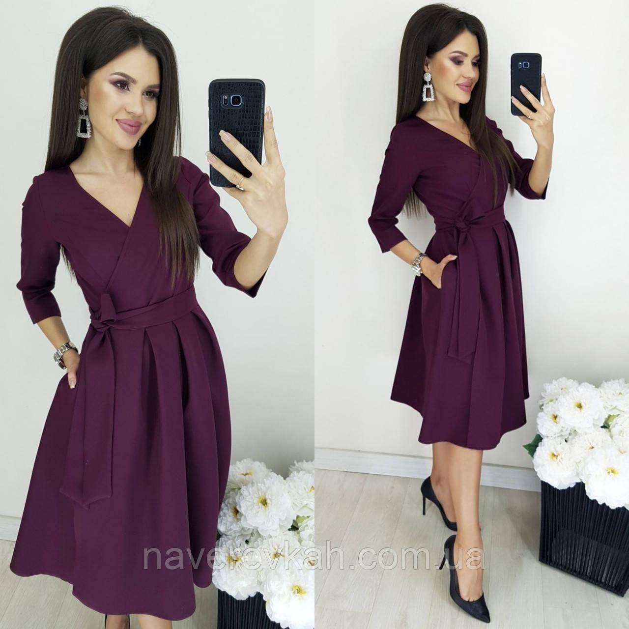 Женское платье костюмка марсала бутылка 44 46 48