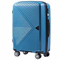 Дорожный чемодан пластиковый полипропилен Wings PP06 средний на 4 колесах синий