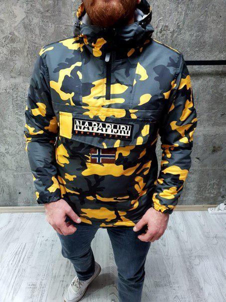 Мужская утепленная куртка-анорак NAPAPIJRI с принтом, до -8(три расцветки)