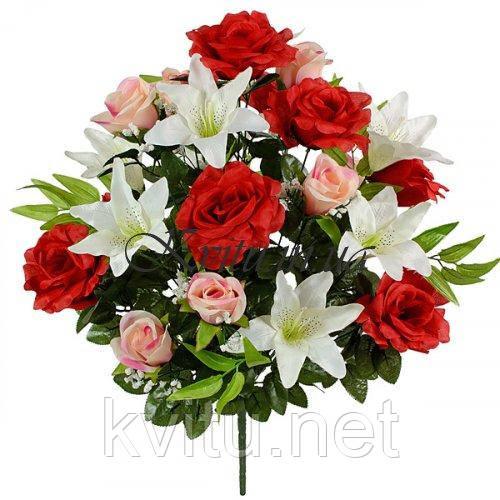 Искусственные цветы букет композиция розы, бутоны и лилии, 60см