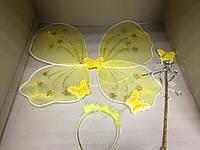 Карнавальный набор Бабочка/Фея (крылья, обруч с антенками, палочка) желтый