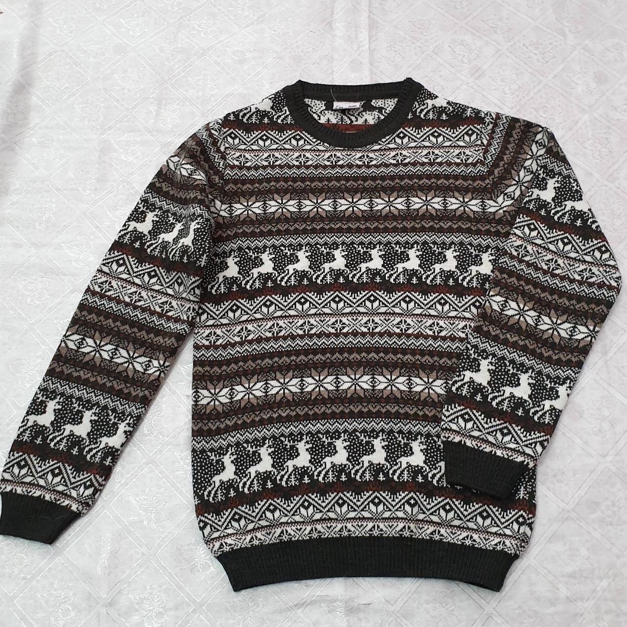 Вязаный свитер детский с оленями на мальчиков 116-146 роста Зеленый