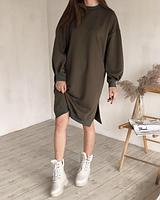 Платье-свитшот удлиненное с рукавами на манжетах, Хаки