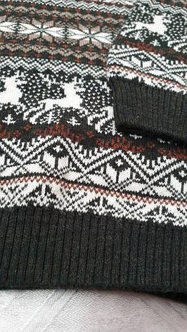 Вязаный свитер детский с оленями на мальчиков 116-146 роста Зеленый, фото 2