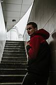 Мужская ветровка анорак весна / осень Intruder Hypnotic (красно - черный)
