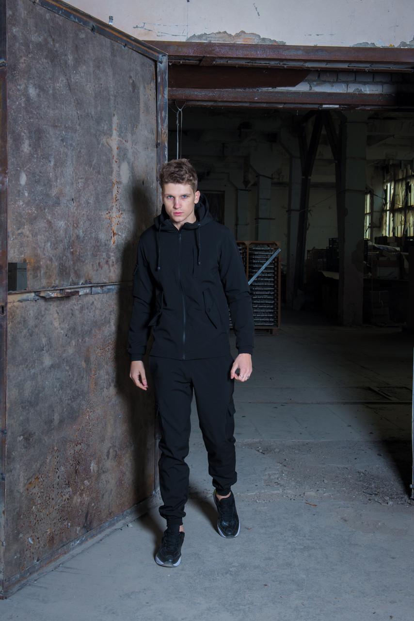 Чоловічий костюм чорний демісезонний Softshell Intruder. Куртка чоловіча чорна, штани утеплені. Бафф в подарунок