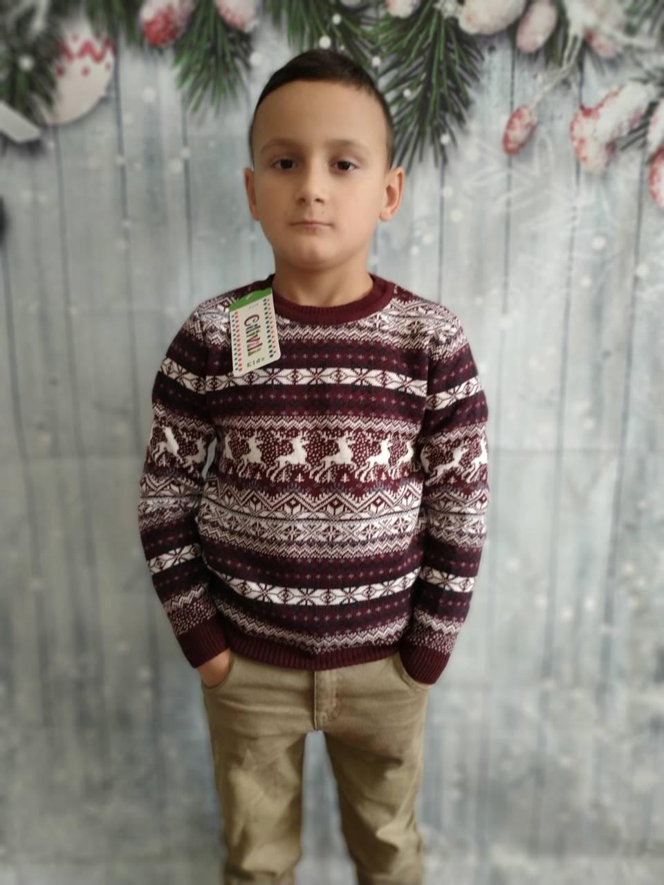 Вязаный свитер детский с оленями на мальчиков 116,122 роста Бордовый