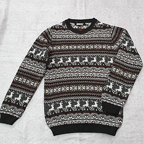 Вязаный свитер детский с оленями на мальчиков 116,122 роста Бордовый, фото 2