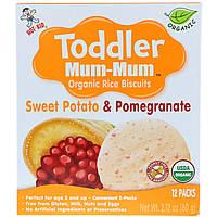 Hot Kid, Печенье с органическим рисом Toddler Mum-Mum, батат и гранат, 12 упаковок, 60 г, официальный сайт