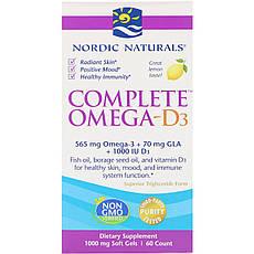Nordic Naturals, Комплекс Омега-D3, лимон, 1000 мг, 60 м'яких таблеток