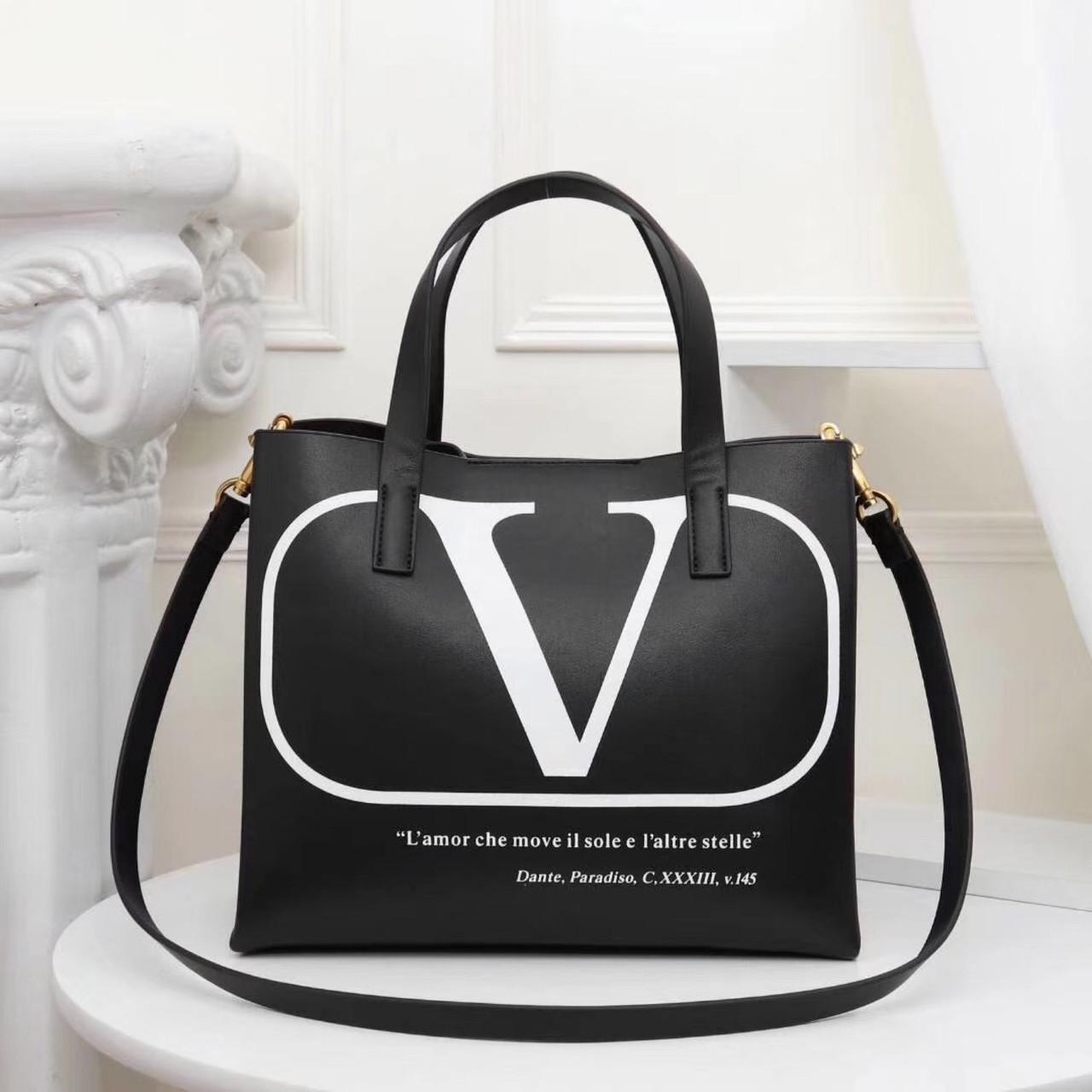 Сумка шоппер від Валентино, шкіряна репліка