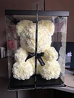 Мишка из 3D роз высотой 40см - Белый