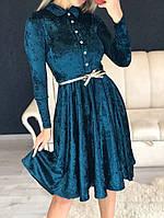 Платье женские коктейльное с поясом, изумрудное, материал - бархат муар, код G-107