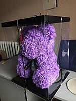 Мишка из 3D роз высотой 40см - Фиолетовый