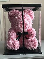 Мишка из 3D роз высотой 40см - розовый