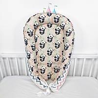 Кокон-позиционер для сна новорожденных в нежно-пудровых тонах с пандами