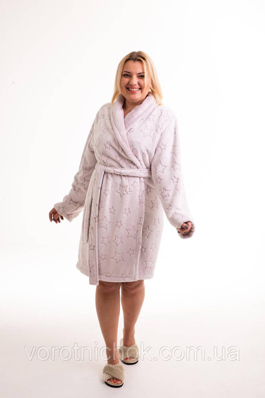 Женский махровый халат с воротником