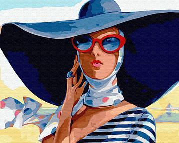Картина по номерам В широкополой шляпе 29721