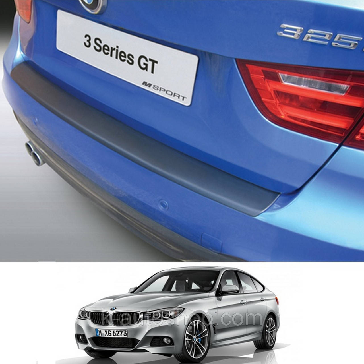 Пластиковая защитная накладка на задний бампер для BMW 3-series F34 GT 2013+