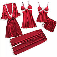 Комплект для сна и дома, подарочный набор, набор белья, халат, топ, шорты, пеньюар,  штаны