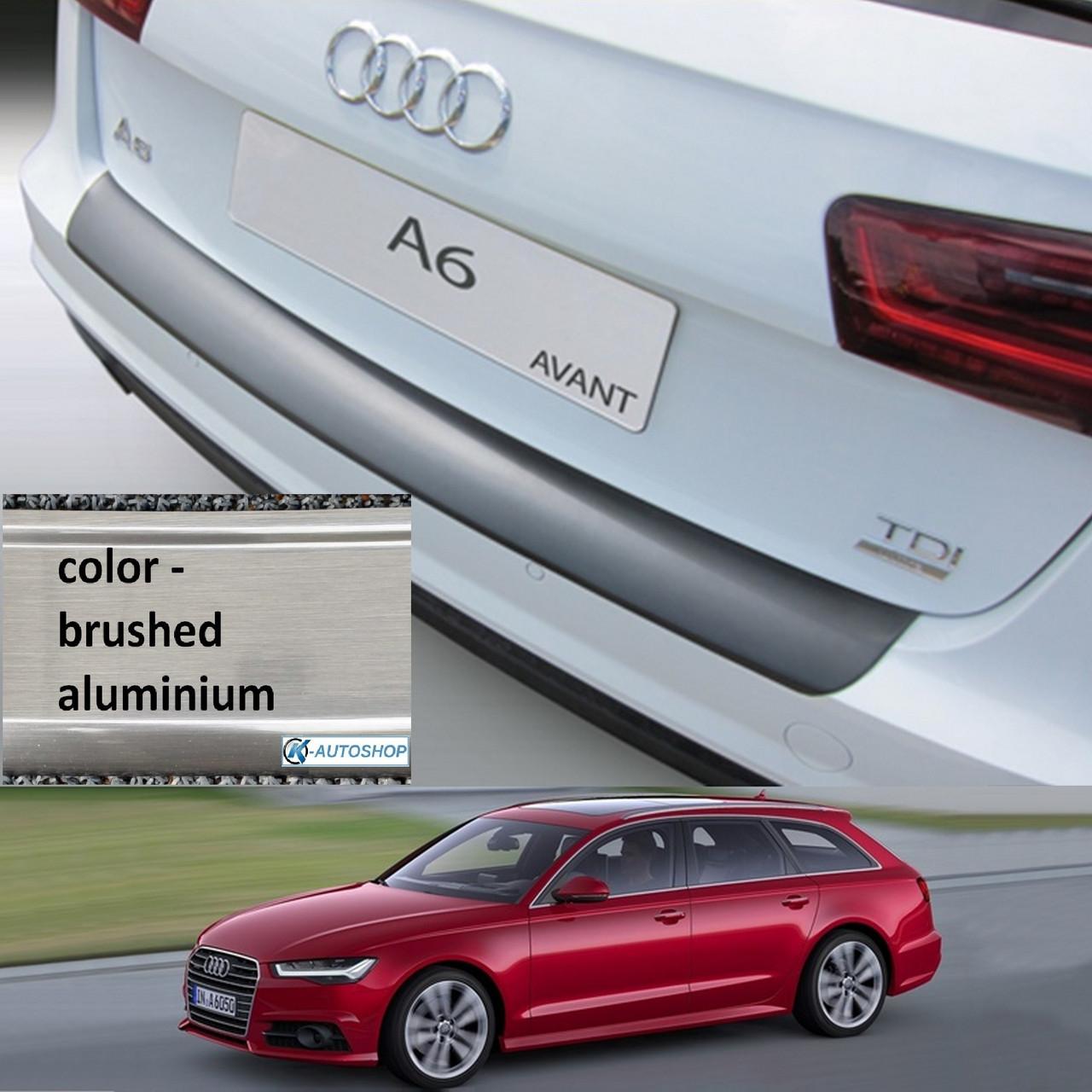 Пластиковая защитная накладка на задний бампер для Audi A6 Avant рестайл 09.2014-08.2018