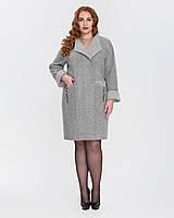Пальто с отделкой серое 50-60р