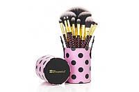 Набор кистей в тубусе 11 pc Pink-A-Dot Brush Set BH Cosmetics Оригинал