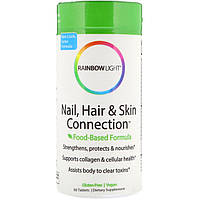 Rainbow Light, Connection для ногтей, волос и кожи, формула на основе продуктов питания, 60 таблеток, официальный сайт