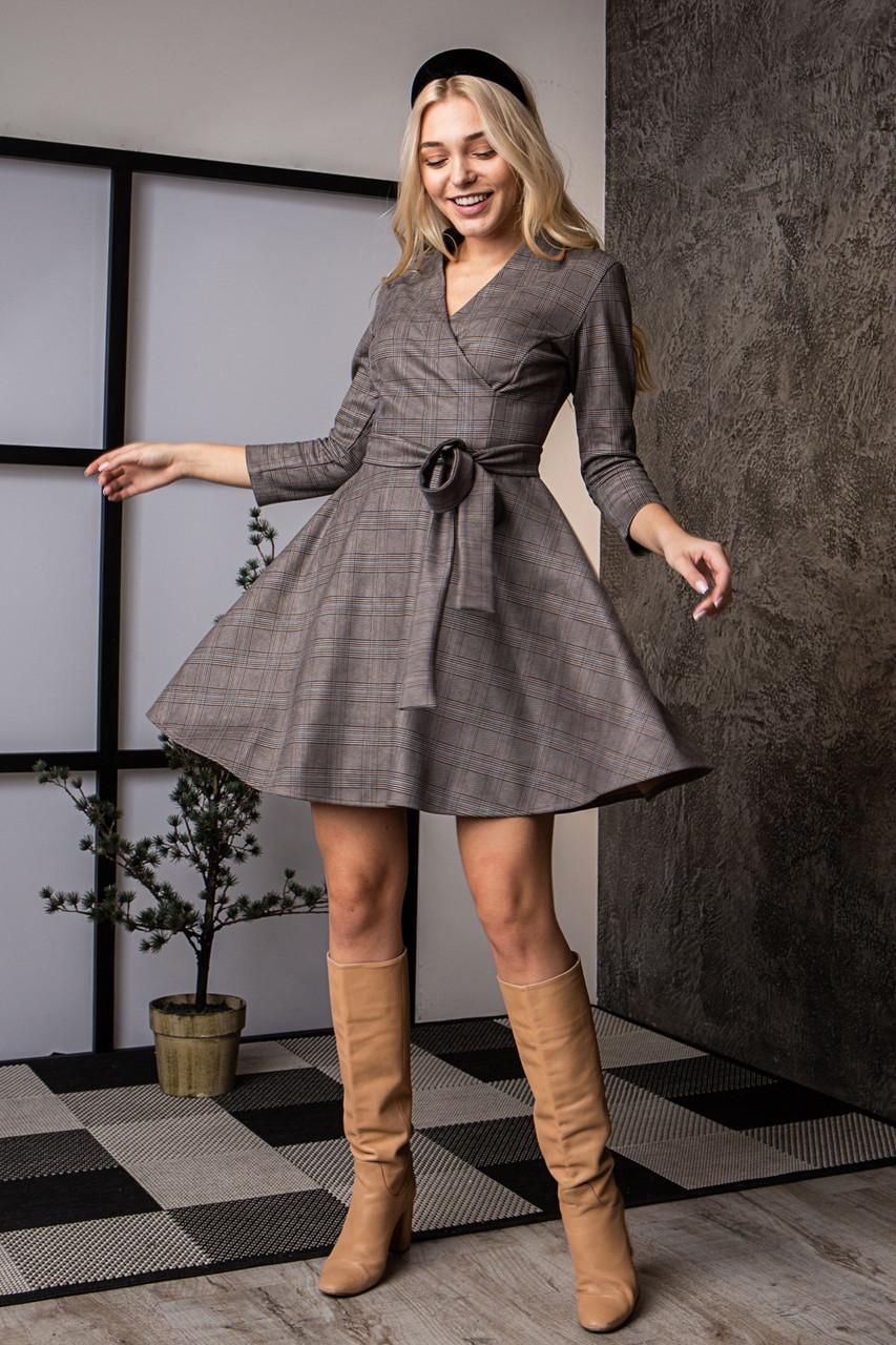 Платье  мод 736-1 размер 44,46,48 клетка бежевая