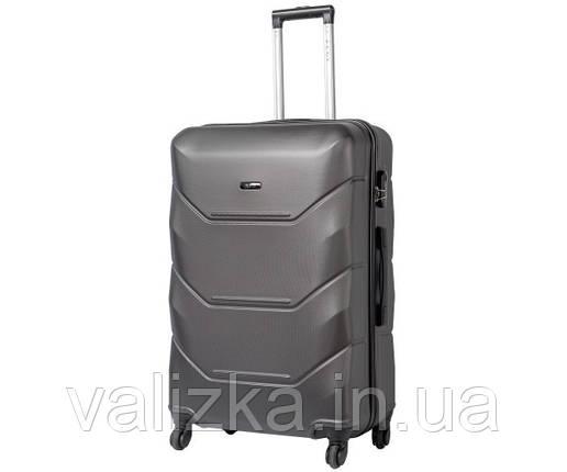 Великий пластиковий чемодан Fly на 4-х колесах темно-сірий, фото 2
