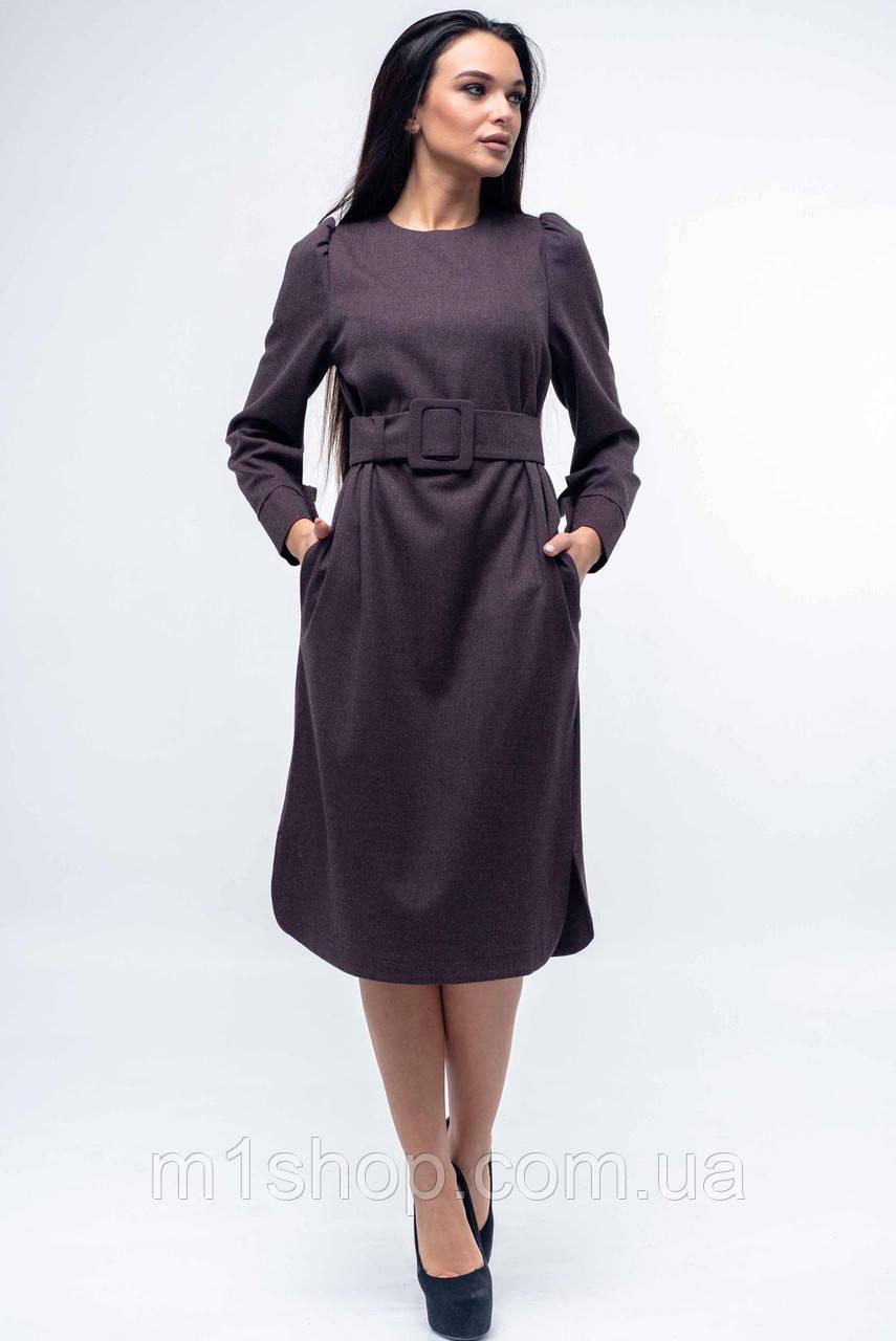 Женское однотонное платье с широким поясом (Джен ri)