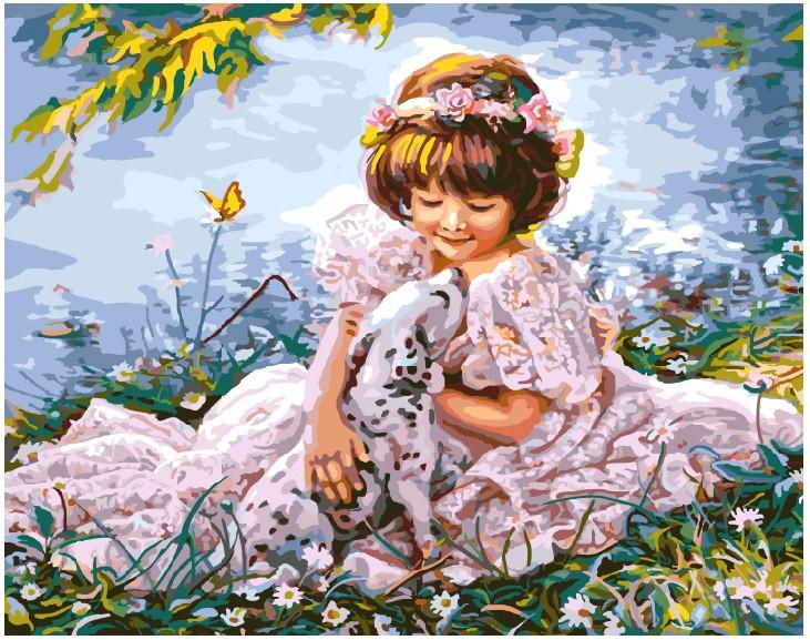 Картина по номерам Девочка с далматинцем 8553