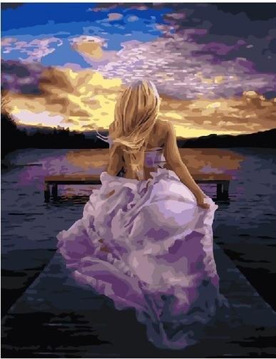 Картина по номерам Девушка в сиреневом платье 21738
