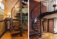 Лестница из металла трубы с перилами винтовая на титевах
