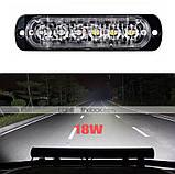 Универсальный мигающий желтый свет для световых сигналов автотранспорта 12-24V 6 LED, фото 2
