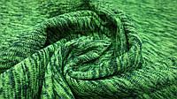 Теплая ткань футер (трехнитка) с начесом цвет меланж салатовый, фото 1