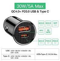 Автомобильное зарядное устройство USB, Type-C, быстрая зарядка QC3.0, QC4.0, PD3.0 с подсветкой
