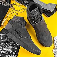 Мужские ботинки Adidas Tubular Invader Strap зимние на меху теплые серые